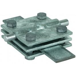 DEHN+SOHNE Крестообразный соединитель надземного и подземного монтажа c промежут. пластиной Rd/Fl=8-10/30-40 мм Fl=30-40/30-40мм St/tZn
